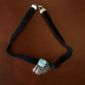 Black choker with silver accent